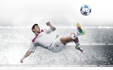 обоя спорт, футбол, известный, футболист, лионель, месси, бьет, по, мячу