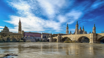 Картинка города мосты река мост zaragoza aragon spain