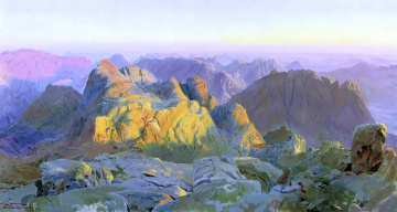 Картинка рассвет+на+синае рисованное дмитрий+белюкин камни скалы горы