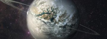обоя космос, арт, ледяная, планета