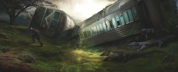 обоя фэнтези, иные миры,  иные времена, арт, вагоны, крушение, ящеры, поезд, человек, мужчина