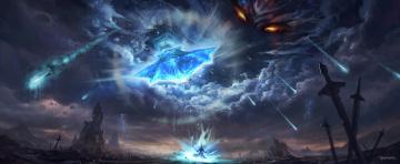 обоя фэнтези, маги,  волшебники, оружие, бог, небо, арт, метеориты, карающий, божество, человек, меч, feng, liu, pursue, глаза, облака