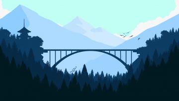 обоя векторная графика, природа , nature, горы, мост
