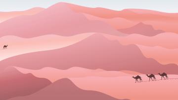 обоя векторная графика, природа , nature, верблюды, пустыня