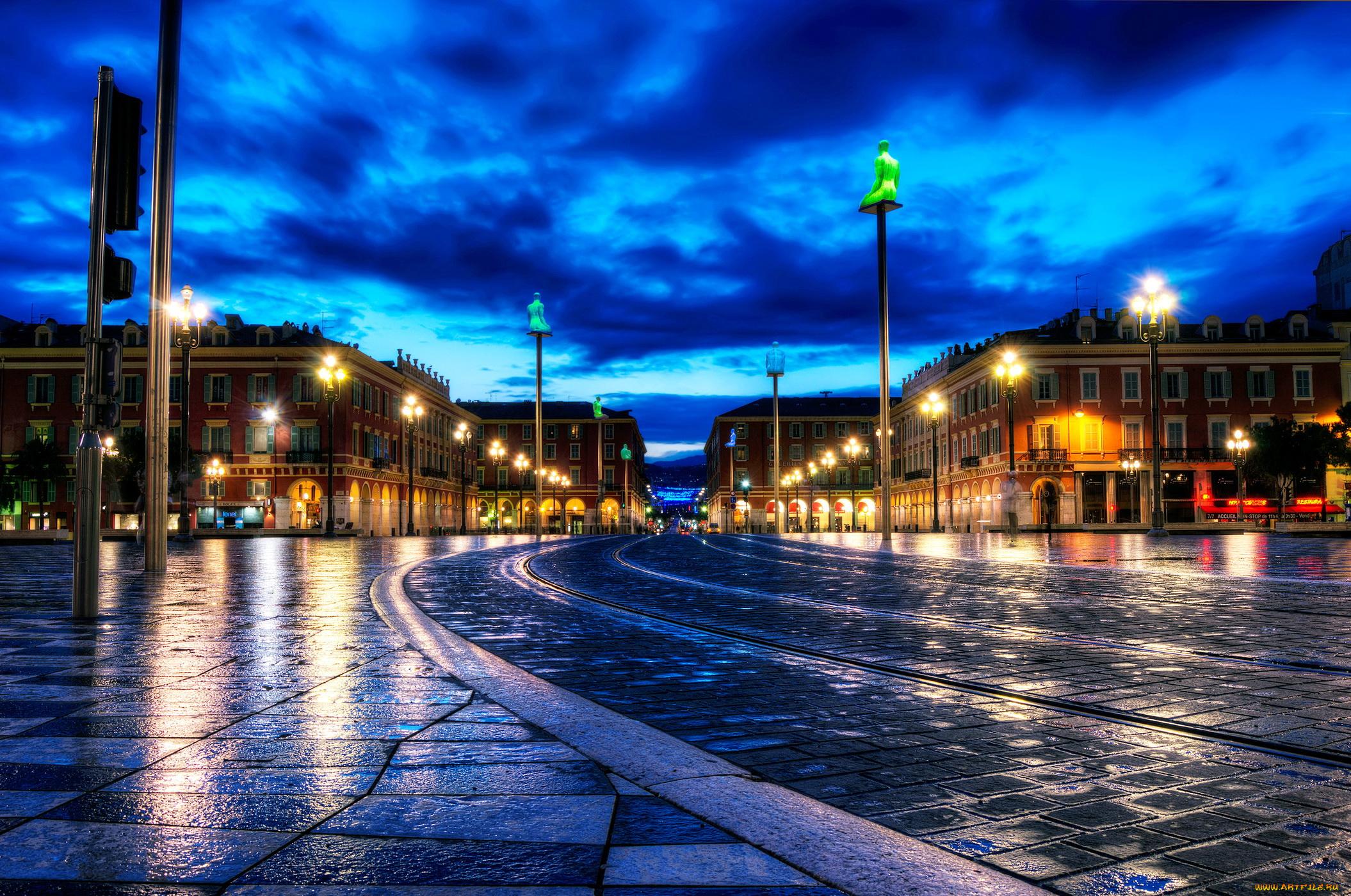 Франция дороги ночь фонари  № 2229237 загрузить