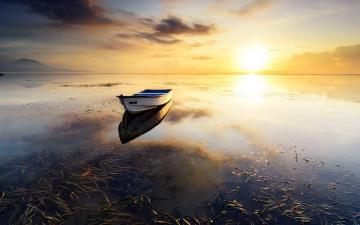 обоя корабли, лодки,  шлюпки, река, вода, простор, закат