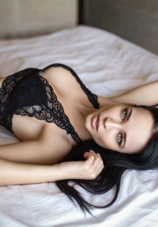 Women Brunette Black Lingerie Lying On Back Tnaflix 1