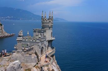 Картинка города ласточкино+гнездо+ украина замок утес море