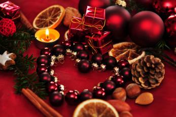Картинка праздничные украшения balls heart decoration украшение рождество candle new year christmas ornaments свечи новый год шары сердце