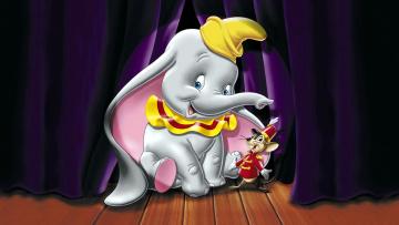 обоя мультфильмы, dumbo, фон, слон