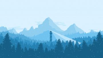 обоя векторная графика, природа , nature, горы, маяк, лес