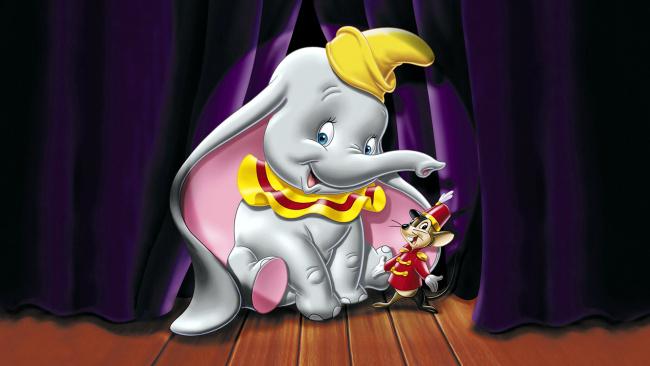 Обои картинки фото мультфильмы, dumbo, фон, слон