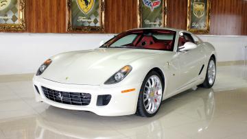 белый автомобиль Ferrari 599 GTB Fiorano бесплатно