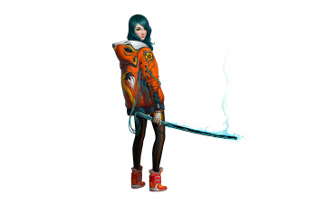 Картинка девушка+робот рисованные -+другое девушка робот механизм стиль меч