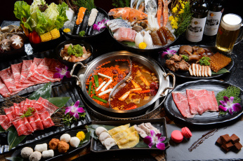 Картинка еда разное ассорти блюда китайская кухня суп морепродукты рыба мясо овощи