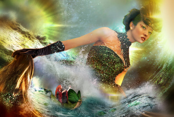 Картинка фэнтези фотоарт море стихия девушки