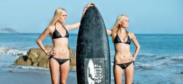 Картинка спорт серфинг доска девушки пляж