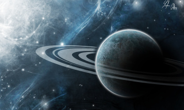 Картинка космос арт кольца туманность сатурн планета
