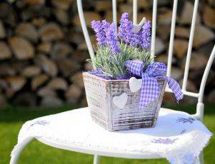 Картинка цветы лаванда вазон бант