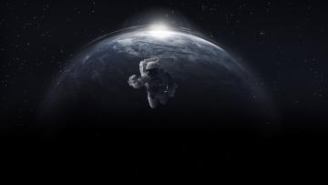 обоя космос, астронавты, космонавты, астронавт, в, открытом, космосе, на, фоне, планеты, земля