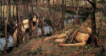 обоя a naiad or hylas with a nymph,  john william waterhouse, рисованное, john william waterhouse, берег, нимфа, ручей, парень
