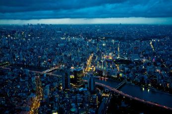 Картинка города токио Япония ночь панорама