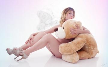 девушка медведь плюшевый  № 351192 загрузить