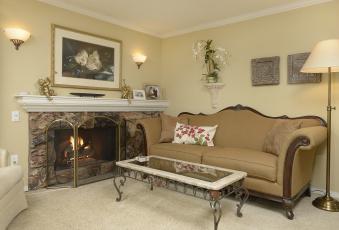 Картинка интерьер гостиная диван камин