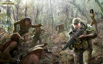 Картинка фэнтези существа оружие планета чужая аборигены джунгли солдат