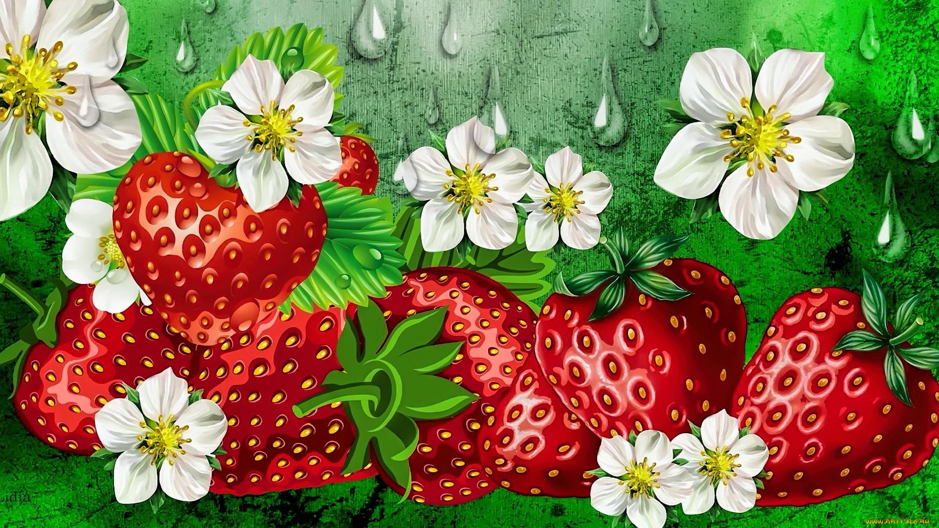 Цветочки клубники картинки