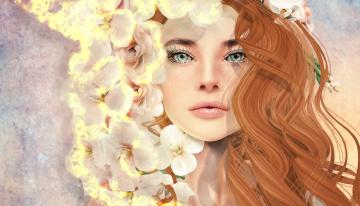 Картинка 3д+графика портрет+ portraits девушка цветы волосы лицо