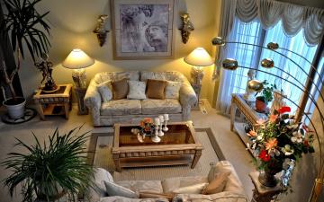 обоя интерьер, гостиная, диваны, светильники, картина