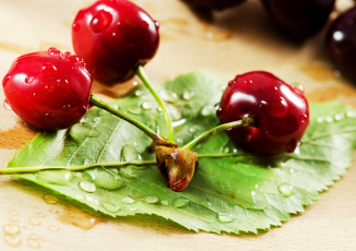 Картинка еда вишня +черешня листик три черешинки веточка