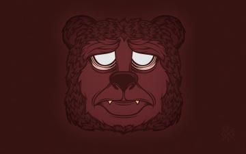 Картинка рисованные минимализм медведь фон