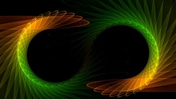 обоя 3д графика, абстракция , abstract, символ, бесконечности, из, разноцветных, волн, абстракция