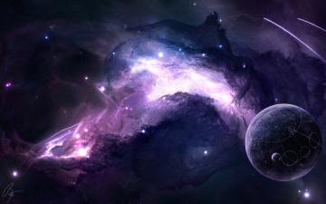 обоя космос, арт, сверхновая, пространство, звезды, планета