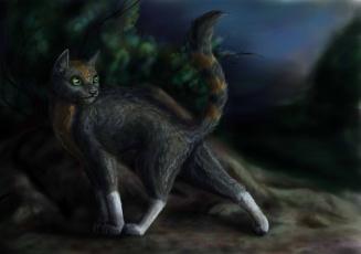 Картинка рисованные животные +коты кот взгляд