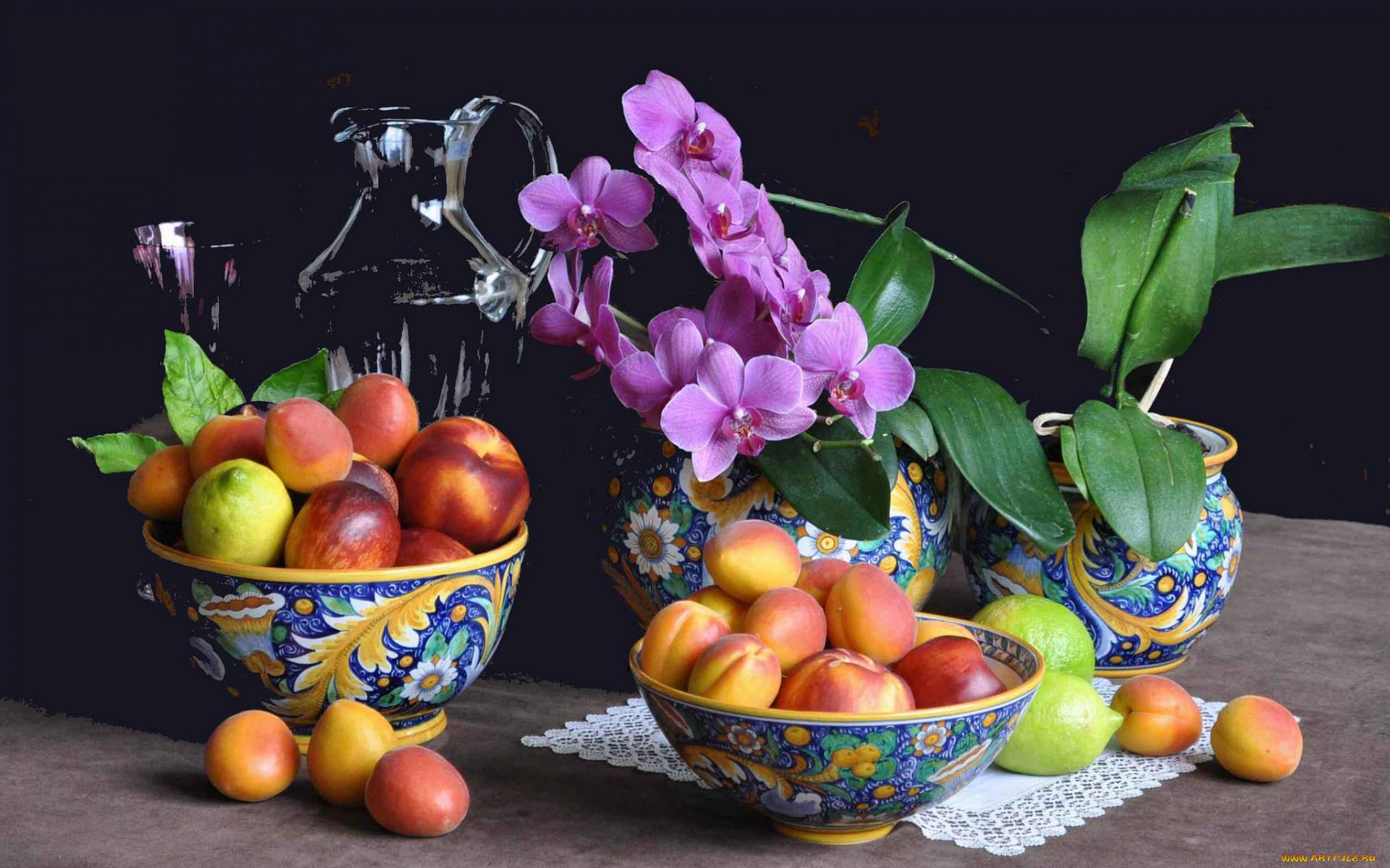 Обои для рабочего стола натюрморты с цветами и фруктами