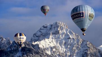 обоя авиация, воздушные шары, снег, шары, горы, небо, полет, воздухоплавание
