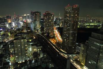 Картинка города токио Япония ночь огни