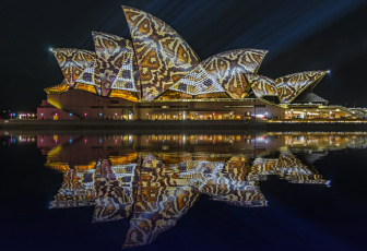 Картинка города сингапур+ сингапур ночь огни иллюминация узор цвет подсветка отражение город вода
