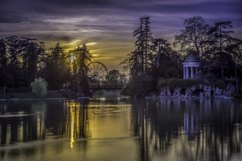 Картинка lac+daumesnil+-+paris города париж+ франция ротонда мост пруд парк вечер