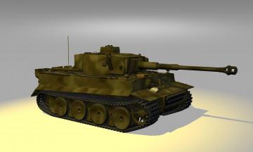 обоя танк тигр, техника, 3d, жёлтое, освещение, камуфляж, 3dмодель, тигр, танк