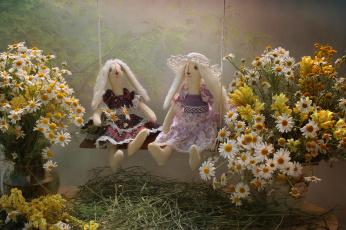 обоя разное, игрушки, ромашки, полевые, натюрморт, лето, июль, игрушка, тильда, зайка, цветы