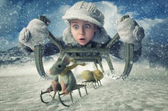 обоя юмор и приколы, мышь, девочка, зима, санки, арахис, снег