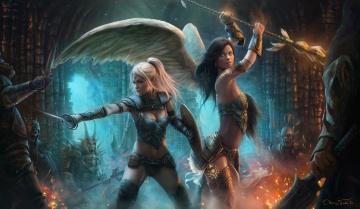 обоя фэнтези, ангелы, крылья, магия, арт, маг, схватка, монстры, посох, эльф, девушка