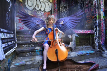 обоя музыка, - другое, девушка, виолончель, крылья