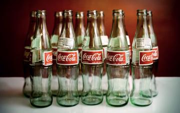 обоя бренды, coca-cola, стеклянные, бутылки