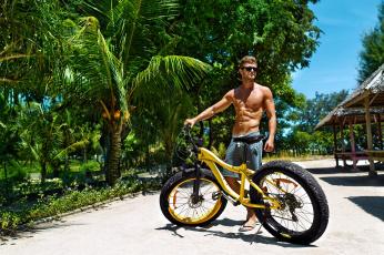 обоя мужчины, - unsort, пальмы, велосипед