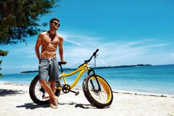 обоя мужчины, - unsort, пляж, велосипед